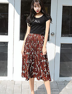 Women's Daily Causal Midi Skirts,Cute Swing Floral Floral Print Spring