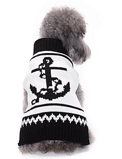billiga Hundkläder-Katt / Hund Tröjor Hundkläder Sjöman Vit Akrylik Fiber Kostym För husdjur Herr / Dam Ledigt / vardag / Mode