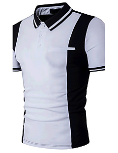 Men's Daily Casual Active Summer Polo,Color Block Shirt Collar Short Sleeves Cotton Medium