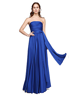cheap Bridesmaid Dresses-A-Line Floor Length Jersey Bridesmaid Dress with Pleats Criss Cross by LAN TING BRIDE®