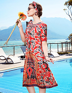 Χαμηλού Κόστους YENMEINAR-Γυναικεία Παραλία Φαρδιά Σε γραμμή Α Φόρεμα - Φλοράλ, Λουλούδι