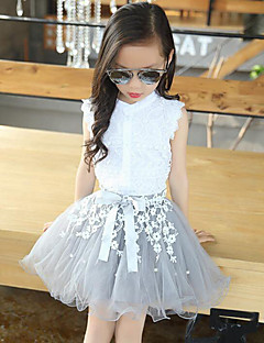 Girls' Casual/Daily Patchwork Sets,Rayon Polyester Summer Sleeveless Clothing Set Lace White