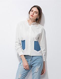 Damen Patchwork Einfach Street Schick Lässig/Alltäglich Hemd,Hemdkragen Frühling Sommer Langarm Baumwolle Dünn