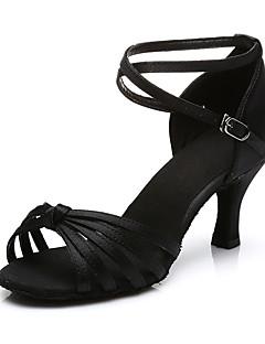 hesapli -Kadın Latince Kumaş Sandaletler Topuklular Performans Toka Küba Topuk Deve Fuşya Koyu Kahverengi Kırmzı Leopar 7cm Kişiselleştirilmiş