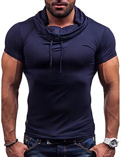 preiswerte Oberteile-Herrn Solide Freizeit Alltag Sport T-shirt, Asymmetrisch Kurzarm Baumwolle