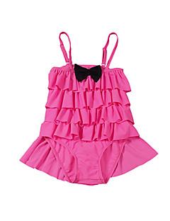 billige Badetøj til piger-Pige Rosette Prikker Patchwork Badetøj, Bomuld Polyester Rosa