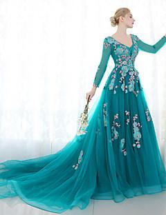 ボールガウン プリンセス Vネック コートトレーン チュール レース 〜と フォーマルイブニング ドレス 〜によって SG