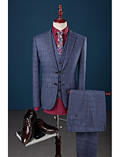Blue Checkered Slim Fit Polyester Viscose Suit - Notch Single Breasted Two-buttons