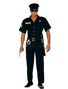 billige Halloweenkostymer-Politi Cosplay Kostumer Party-kostyme Mann Halloween Karneval Festival / høytid Halloween-kostymer Svart Ensfarget Mote