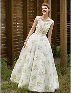 huaxirenjiaoでプリーツとaラインのスクープネックフロアの長さチュールウェディングドレス