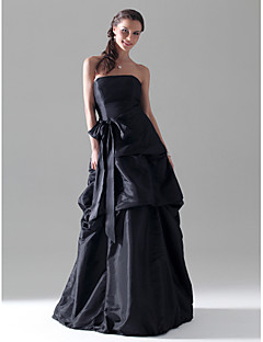 A Line Princess Strapless Floor Length Taffeta Bridesmaid Dress With Bow S Pick Up Skirt Sash Ribbon By Lan Ting Bride