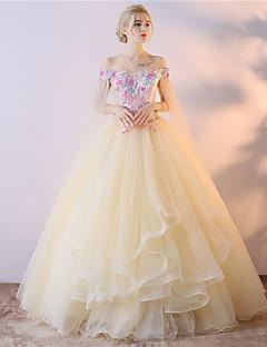 preiswerte Kleider für besondere Anlässe-Ballkleid Prinzessin Schulterfrei Asymmetrisch Tüll Formeller Abend Kleid mit Stickerei durch LAN TING Express