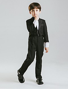 cheap Ring Bearer Suits-Black Cotton Ring Bearer Suit - Five-piece Suit Includes  Jacket Waist cummerbund Shirt Pants Bow Tie