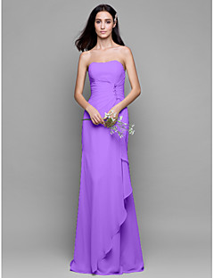 cheap Long Bridesmaid Dresses-Sheath / Column Strapless Floor Length Chiffon Bridesmaid Dress with Crystal Detailing Cascading Ruffles by LAN TING BRIDE®