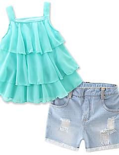 billige Tøjsæt til piger-Pige Tøjsæt Daglig Strand Ferie Ensfarvet, Bomuld Polyester Sommer Uden ærmer Pænt tøj Folder Grøn