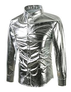 billige Herremote og klær-Bomull Tynn Skjorte Herre - Ensfarget Punk & Gotisk Gatemote