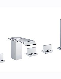 billige Foss-Badekarskran - Art Deco / Retro / Moderne Krom Badekar Og Dusj Keramisk Ventil Bath Shower Mixer Taps / Messing / To Håndtak fem hull