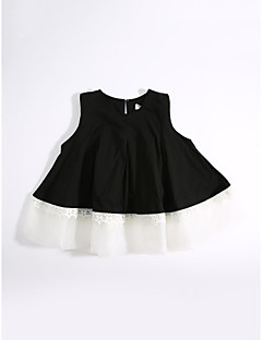 Girls' Daily Solid Blouse,Cotton Summer Short Sleeve Black