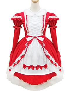 billiga Lolitamode-Söt Lolita Lolita Dam Outfits Cosplay Röd Kortärmad Kort / mini Halloweenkostymer