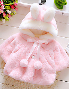 billige Overtøj til babyer-Baby Pige dun- og bomuldsforet Daglig I-byen-tøj Ferie Ensfarvet, Bomuld Alle årstider Langærmet Pænt tøj Hvid Lyserød