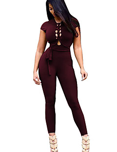 Women's Backless Round Neck High Rise Sports Simple Active Skinny Cut Out Solid Summer Sexy Jumpsuits