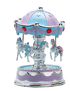 cheap -Music Box Carousel Merry Go Round Cute Lighting Plastic European Style Kid's Adults Kids Unisex Toy Gift