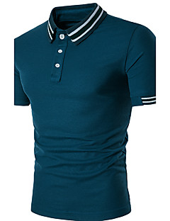 Men's Casual/Daily Street chic Polo,Striped Shirt Collar Short Sleeve Polyester