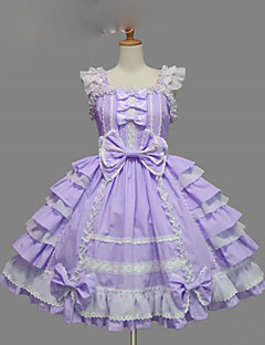 Sweet Lolita Dress Princess Women's Girls' JSK / Jumper Skirt Cosplay Blue Purple Yellow Cap Short Sleeves Short / Mini
