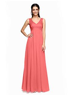 billige Romantisk rosa-A-linje V-hals Gulvlang Chiffon Blonder Brudepikekjole med Plissert av LAN TING BRIDE®