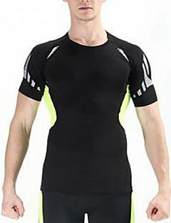 tanie Odzież turystyczna-Męskie T-shirt turystyczny na wolnym powietrzu Lato Oddychający Szybkie wysychanie Pyłoszczelne Poliester T-shirt Top Kolarstwo / Rower Biały