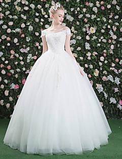 Prinzessin Bateau Hals Boden-Länge Spitze Tüll Pailletten Hochzeitskleid mit Kristall Perlenstickerei Paillette Applikationen Spitze Blume