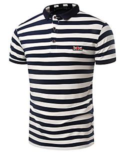 cheap Men's New Ins-Men's Cotton Polo Print Shirt Collar
