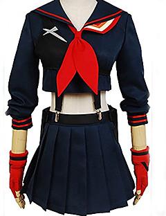 """billige Anime cosplay-Inspirert av KILL la KILL skole~~POS=TRUNC / Matoi Ryuuko Anime  """"Cosplay-kostymer"""" Cosplay Klær Ensfarget Langermet Topp / Skjørte / Hansker Til Jente Halloween-kostymer"""
