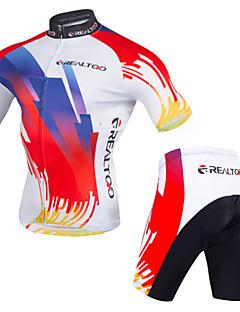 baratos Total Promoção Limpa Estoque-Realtoo Camisa com Shorts para Ciclismo Homens Manga Curta Moto Roupa de Ciclismo Design Anatômico Zíper Frontal Respirável Materiais