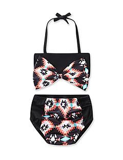 billige Badetøj til piger-Pige Rosette Geometrisk Trykt mønster Badetøj, Bomuld Sort