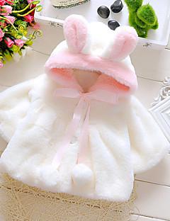 billige Babytøj-Baby Pige dun- og bomuldsforet Daglig I-byen-tøj Ferie Ensfarvet, Bomuld Alle årstider Langærmet Pænt tøj Hvid Lyserød