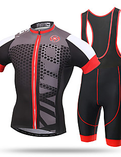 cheap Cycling Clothing-XINTOWN Men's Short Sleeves Cycling Jersey with Bib Shorts - Black/Red Bike Bib Tights Jersey, Quick Dry, Ultraviolet Resistant,