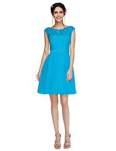 billige Nøytral-A-linje Besmykket Kort / mini Chiffon Blonder Brudepikekjole med Belte / bånd av LAN TING BRIDE®