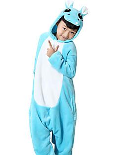 cheap Halloween Props-Kigurumi Pajamas Hippo Onesie Pajamas Costume Flannel Toison Blue Cosplay For Children's Animal Sleepwear Cartoon Halloween Festival /