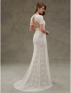 cheap Plus Size Wedding Dresses-Sheath / Column Jewel Neck Floor Length Sheer Lace Custom Wedding Dresses with Draping Lace Sash / Ribbon by LAN TING BRIDE®