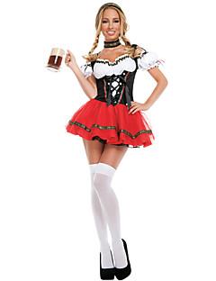 Dienstmädchenuniform Oktoberfest Bayerisch Cosplay Kostüme Frau Halloween Oktoberfest Fest / Feiertage Halloween Kostüme Schwarz/Rrot