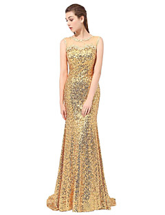 cheap Sequined Dresses-Sheath / Column Bateau Neck Floor Length Chapel Train Lace Formal Evening Dress with Sequin Pleats by LAN TING Express