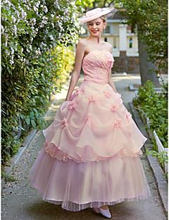 billiga Brudklänningar-Balklänning Axelbandslös Ankellång Organza Anpassade Bröllopsklänningar med Pärla Pickup-kjol Blomma av Embroidered Bridal