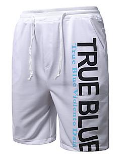 Herre Enkel Mikroelastisk Shorts Bukser,Løstsittende Mellomhøyt liv Bokstaver