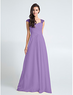 Bridesmaid Dresses Sheath Column Queen Anne Floor Length Chiffon Dress With Criss