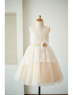 a-line diz boyu çiçek kızı elbise - dantel tül kusursuz kepçe boynu çiçek ile thstylee tarafından
