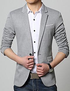 Herren Solide Einfach Lässig/Alltäglich Arbeit Blazer,V-Ausschnitt Frühling Herbst Langarm Standard Baumwolle Acryl