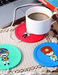 baratos Acessórios de Drinkware-Silicone criativo dos desenhos animados isolamento elétrico coaster usb copo morno dispositivo de aquecimento escritório chá café aquecedor pad mat