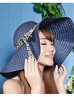 billige Trendy hatter-Dame Vintage Søtt Fest Kontor Fritid Stråhatt Solhatt,Vår Sommer Høst Alle årstider Ensfarget Strå Beige Navyblå Fuksia Lyseblå Kakifarget