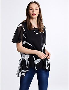 女性 お出かけ カジュアル/普段着 プラスサイズ 夏 ブラウス,シンプル ラウンドネック プリント ホワイト ブラック ポリエステル 半袖 薄手